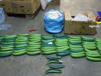 Las bananas de plástico rellenas de cocaína estaban en el interior de 19 cajas