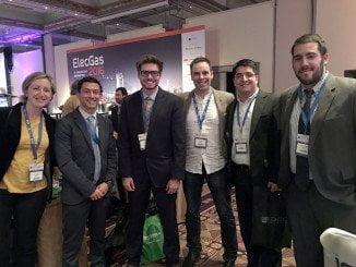 Representantes de las tres empresas andaluzas de energía renovable que participan en ElecGas, en Chile