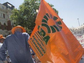 Una de las manifestaciones convocadas por la UPA contra la PAC y ante el Ministerio de Agricultura