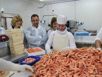 Sánchez y Centeno han visitado una de las empresas más fuertes de sector del marisco y la pesca