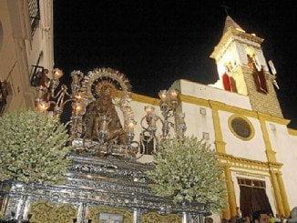 Las Angustias, la Patrona y una de las imágenes que han procesionado por Ayamonte