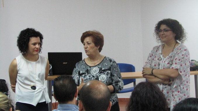 María Eugenia Limón, Eva Salazar y la alcaldesa de Santa Bárbara inaugurando la jornada