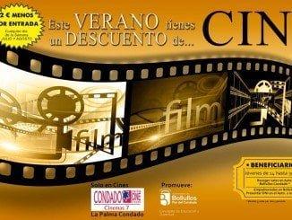 Cartel promocionando el descuento en el Cine de La Palma