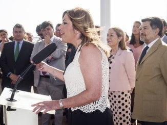 Susana Díaz en la inauguración del Paseo de la Ría en Huelva