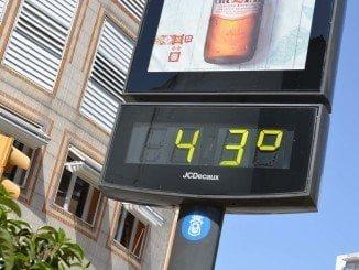 A 43 grados estamos hoy domingo en Huelva en algunos puntos de la capital