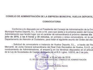 Convocado urgente el Consejo de Administración de Huelva Deportes SA para pedir al Registro que convoque Junta del Recre para cambiar a los Administradores.