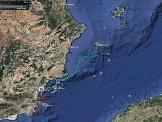 Mapa de localización de las tortugas bobas