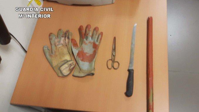 Material incautado en el intento de robo en una casa de Niebla.