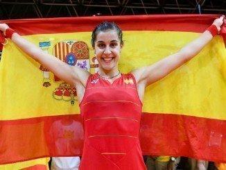 Carolina, feliz, tras conseguir el oro olímpico