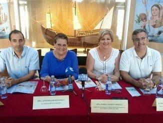 De izquierda a derecha, Javier Castro, la alcaldesa, Antonia Grao, María Casao y Francisco González, ayer en la presentación de las Fiestas