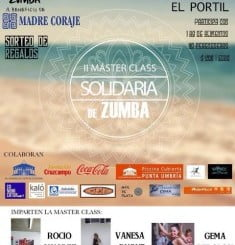 Cartel anunciador del II Master Class de Zumba a beneficio de Madre Coraje