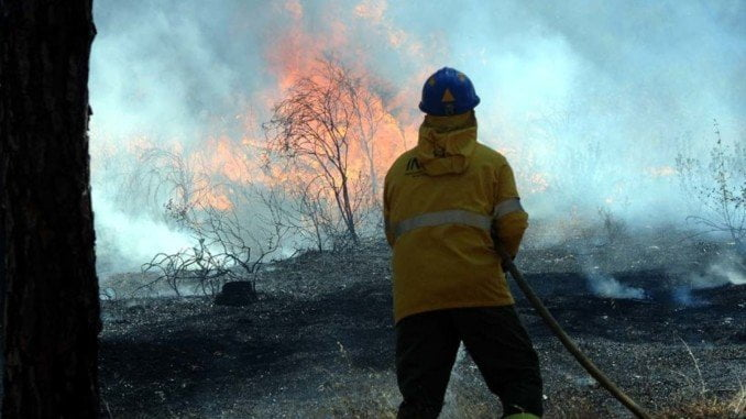Un bombero sofoca un incendio en el término municipal de Gibraleón