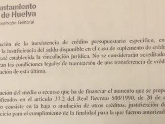 Informe emitido por la Intervención Municipal de la partida presupuestaria que se cambia para inyectar 500.000 euros al Recreativo SAD.