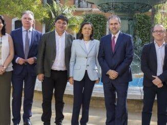 Rosa Aguilar en la presentación en Huelva del Foro EGEDA-FIPCA que se celebrará durante el Festival