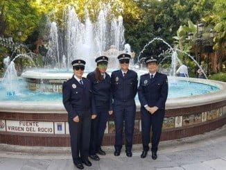 Las cuatro policías de Huelva que han participado en la concentración de Marbella