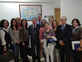 De Llera ha visitado el punto de mediación puesto en marcha en el Palacio de Justicia de Huelva
