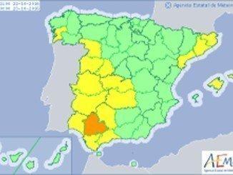 Huelva es una de las trece provincias en aviso amarillo