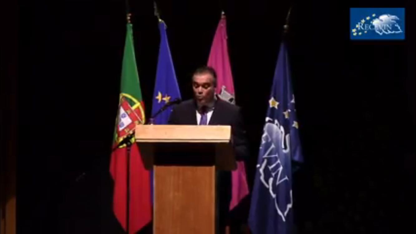 El alcalde Manuel García Félix presentando la candidatura de La Palma con sólidos argumentos.