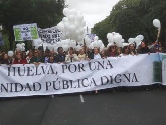 Cabeza de la manifestación 'Huelva, por una sanidad pública digna el pasado 27 de noviembre