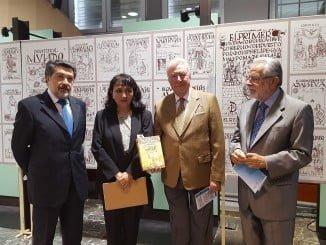 Javier Barrero, Gabriela Porras, José Luis García Palacios y Jaime de Vicente en la exposición