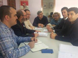 Pedro Jiménez en la reunión con los secretarios provinciales de UGT y CCOO