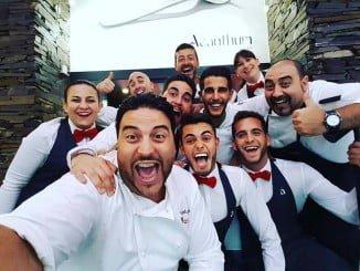 El chef Xanty Elías y uno de los embajadores de la candidatura de Huelva a la capitalidad gastronómica