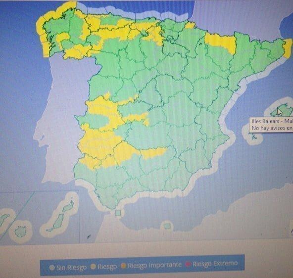 Aviso amarillo en la Sierra de Huelva