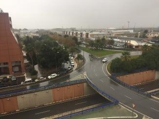 Lluvia sobre la ciudad de Huelva