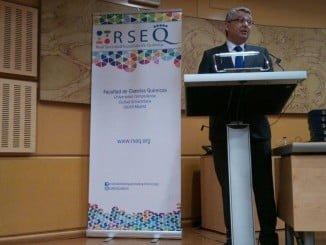 Pedro Pérez durante el discurso para recoger su premio