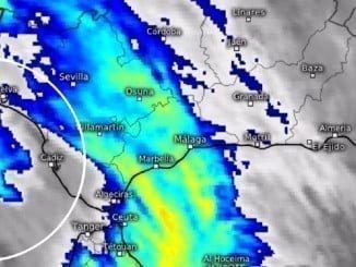 Llegada del frente tormentoso a Huelva según la imagen de Meteosat-9 tomada a las 16.25 horas.