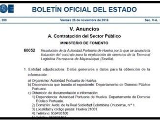 El Puerto de Huelva publicó en el BOE del 25 de noviembre la explotación privada de la terminal logística ferroviaria de Majarabique en Sevilla.