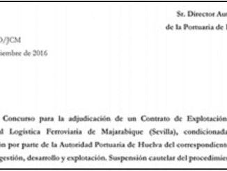 Copia de la Comunicación enviada a los licitadores que se han presentado al concurso de explotación de Majarabique.