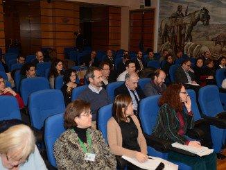 Numerosos asistentes al I Foro de Calidad Diferenciada, entre ellos el presidente de la DOP Jabugo, Guillermo García-Palacios