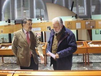 Javier Barrero junto a Jaime de Vicente en la inauguración de la exposición