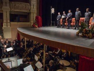 Acto del Pregón de San Sebastián, esta mañana en el Gran Teatro y que ha contado con el acompañamiento musical de la Banda Municipal