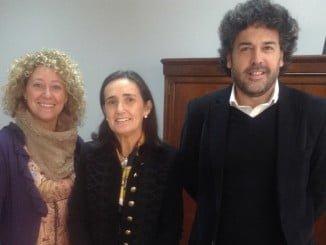 Grávalos con Barba y Pilar Marín, durante  su visita institucional a la Facultad de CC del Trabajo