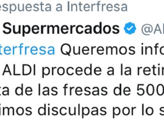 Por la red social Twitter, ALDI Supermercados SL ha comunicado que retira la campaña denunciada por Interfresa pide disculpas al sector.