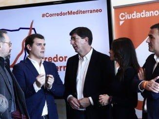 Juan Marín durante la reunión mantenida en Barcelona con Albert Rivera
