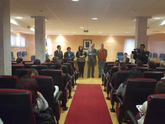 El delegado del Gobierno y el delegado de Economía en su visita al Ayuntamiento de Aljaraque