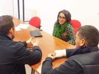 Los representantes sindicales de los estibadores de Huelva se reunieron con Pepa González Bayo (PSOE)