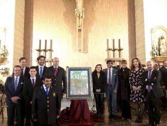 Foto de familia con autoridades, autor de cartel y equipo de Teleonuba.