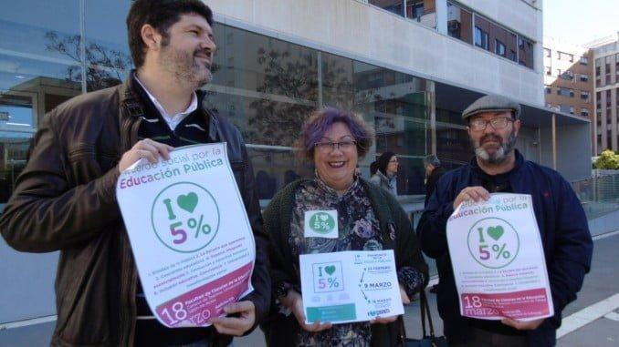 García Bello, Mónica Rossi y Pedro Jiménez reivindican el 5% del PIB para Educación