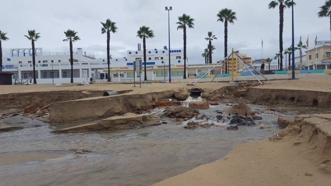 Las playas de Huelva quedaron en muy mal estado tras los temporales de este invierno
