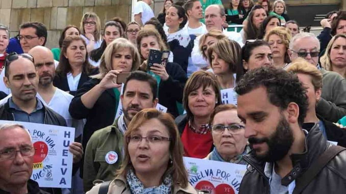 Candel, promotor de las movilizaciones en Granada, junto a Hergueta en apoyo a la protesta de Huelva