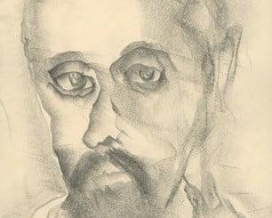 Dibujo original de Juan Ramón Jiménez, obra de Alfonso Aramburu y que recibieron los participantes en la lectura de Juan Ramón Jiménez que organiza la Fundación Flores Jimeno