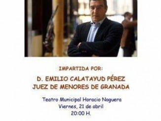 Cartel anunciador de la conferencia que el juez Calatayud impartirá en Isla