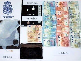 Incautados 10 gramos de estupefacientes, 1.660 euros e instrumentos para preparar y vender la droga