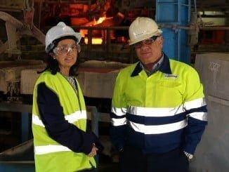 Asunción Grávalos en su visita a las instalaciones de Atlantic Copper