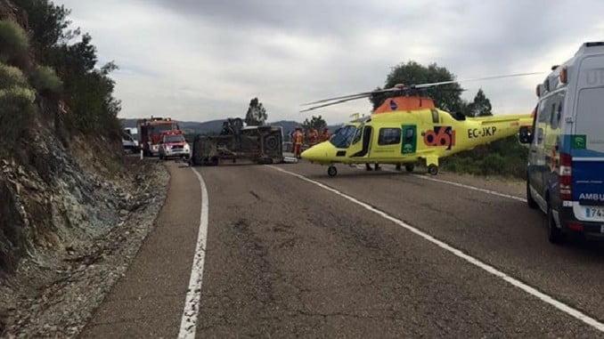 Siete heridos han sido trasladados al Hospital de Riotinto