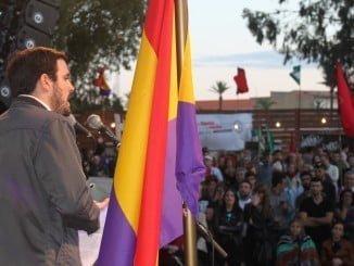 Alberto Garzón en su intervención en la Fiesta de la Rebeldía del PCA.
